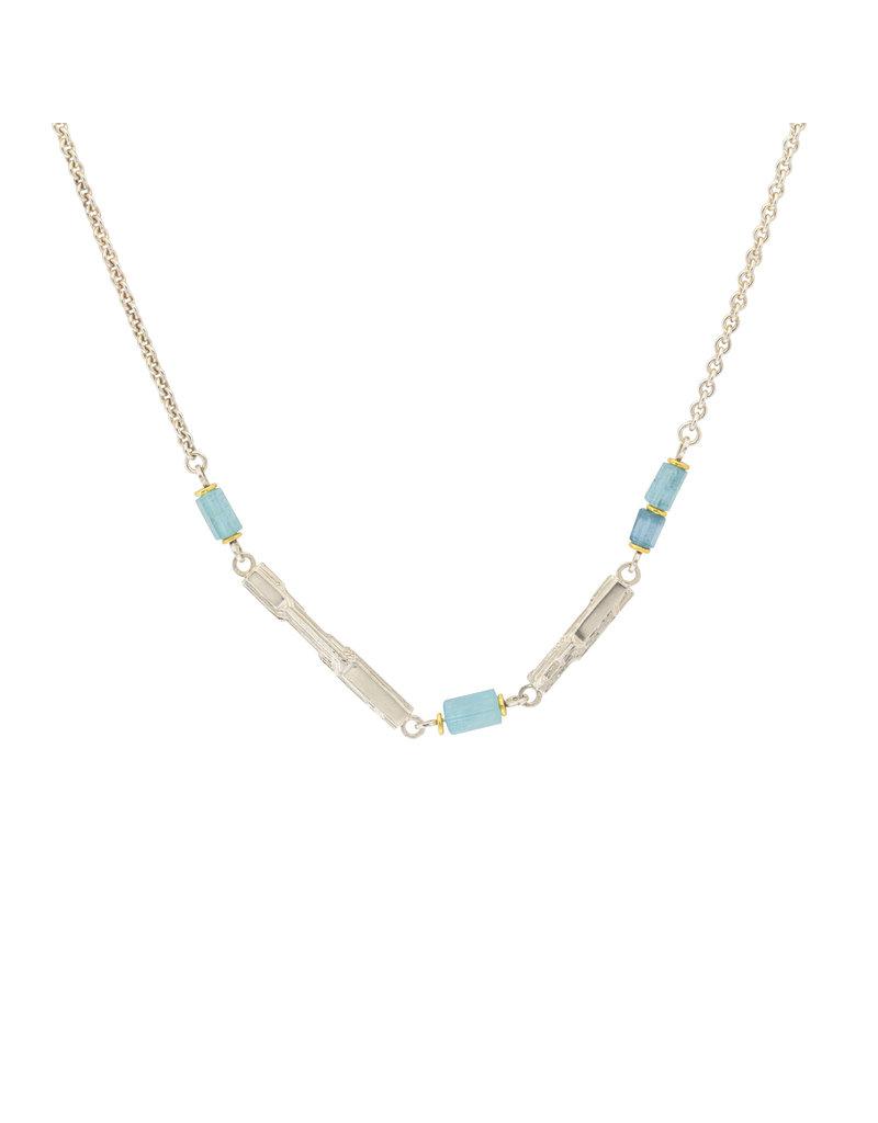Sam Woehrmann Aquamarine Pixelith Necklace in 22k Gold & Silver