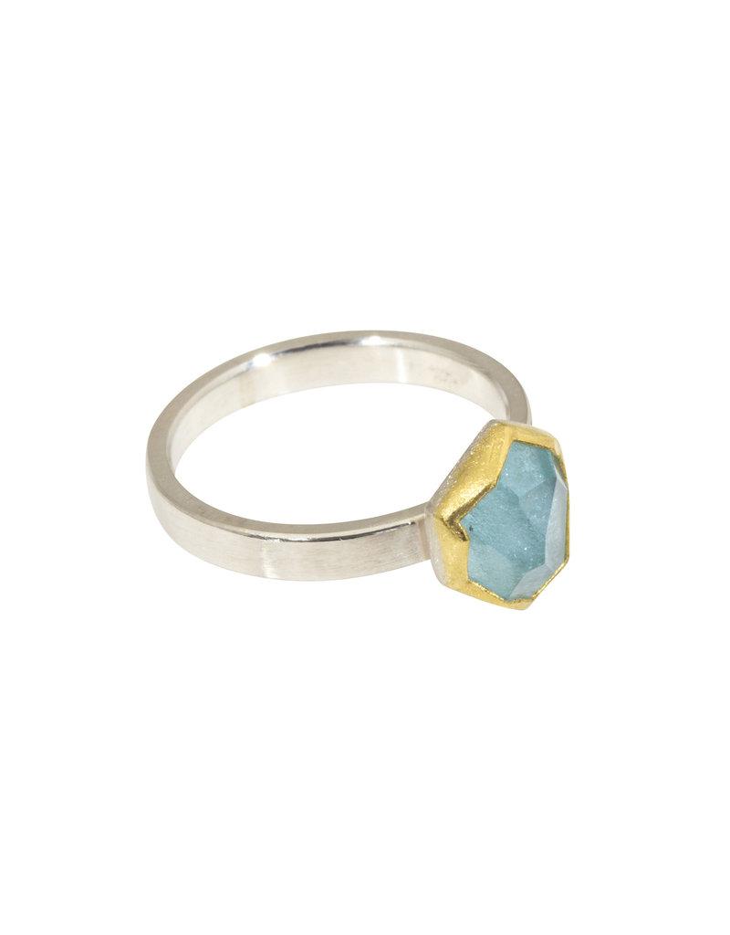 Sam Woehrmann Geometric Aquamarine Ring in 22k Gold & Silver
