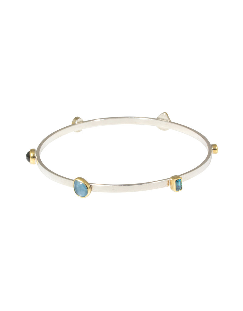 Sam Woehrmann Bangle with Varied Blue Stones in 22k Gold & Silver