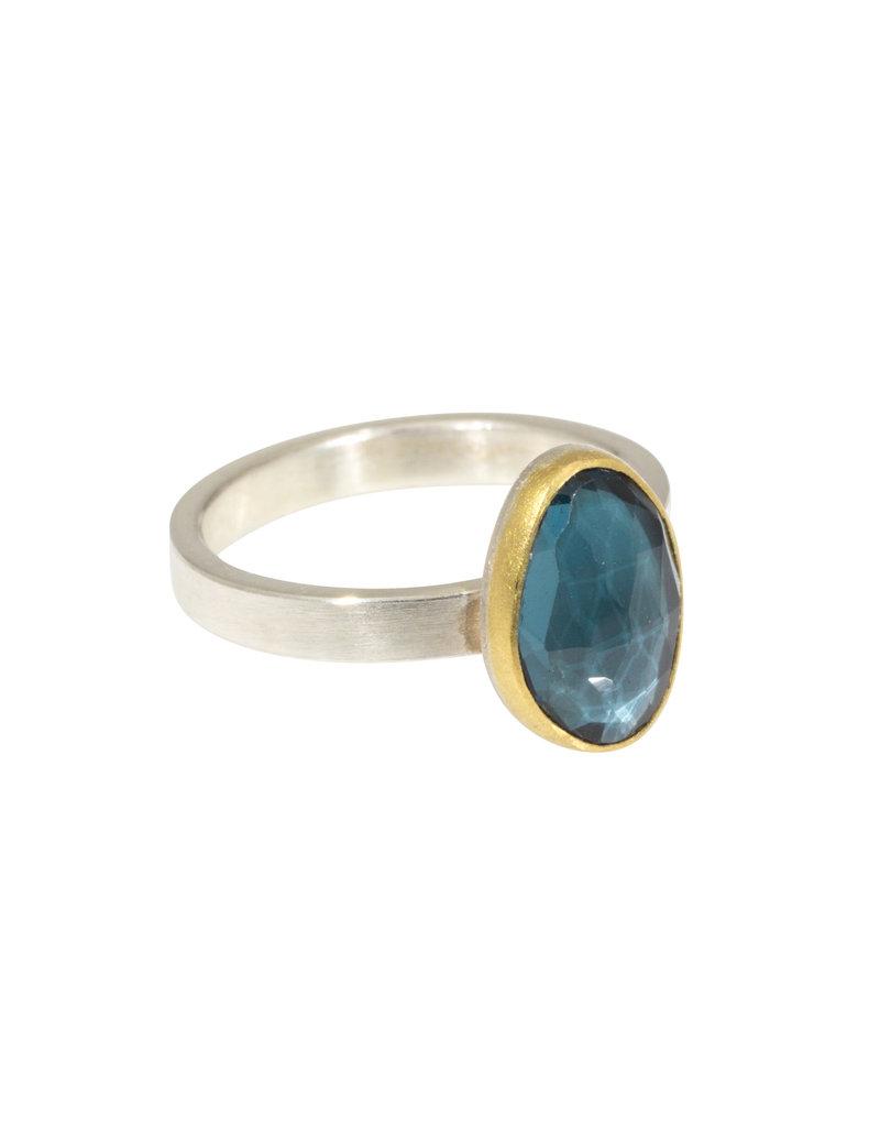 Sam Woehrmann Oval Blue Topaz Ring in 22k Gold & Silver
