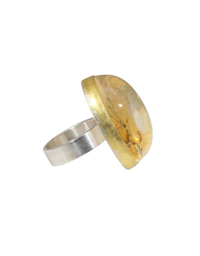 Sam Woehrmann Oval Dendritic Quartz Ring in 22k Gold & Silver