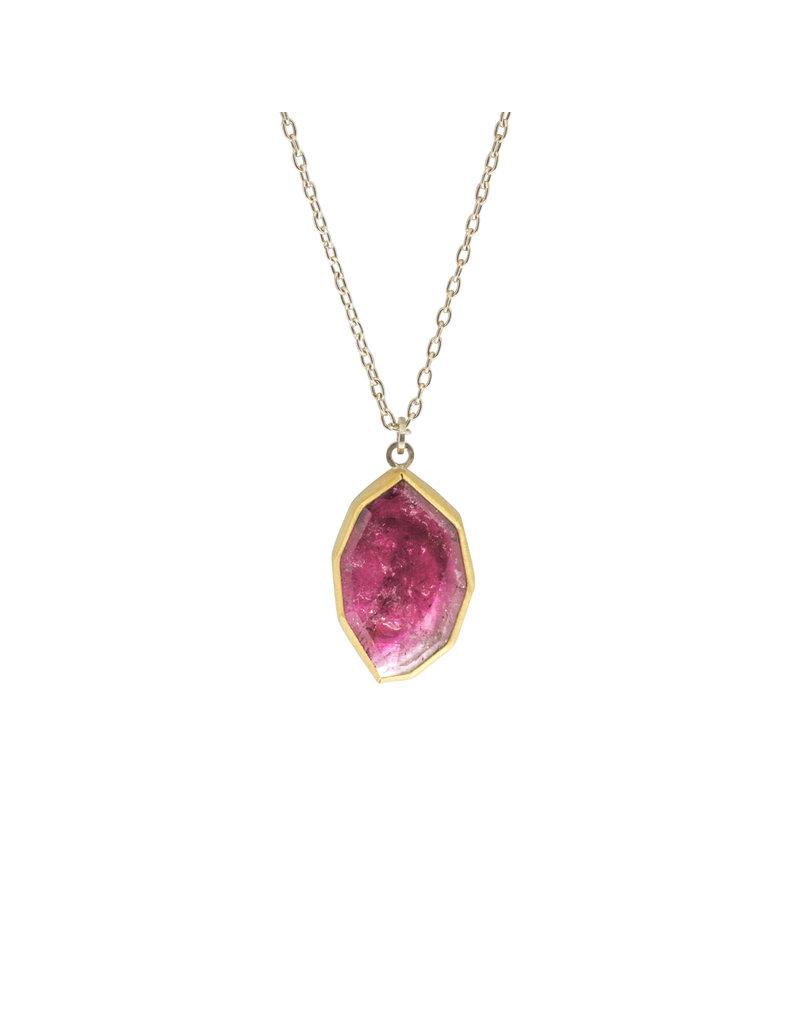 Sam Woehrmann Geometric Pink Tourmaline Pendant in 22k Gold & Silver