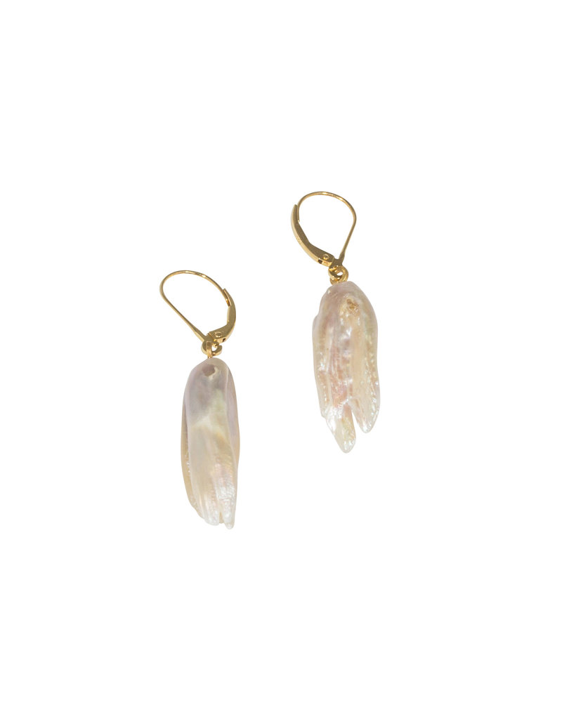 Sam Woehrmann Feather Pearl Earrings with 18k Yellow Gold
