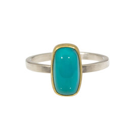 Sam Woehrmann Cushion Gem Silica Ring in 22k Gold & Silver