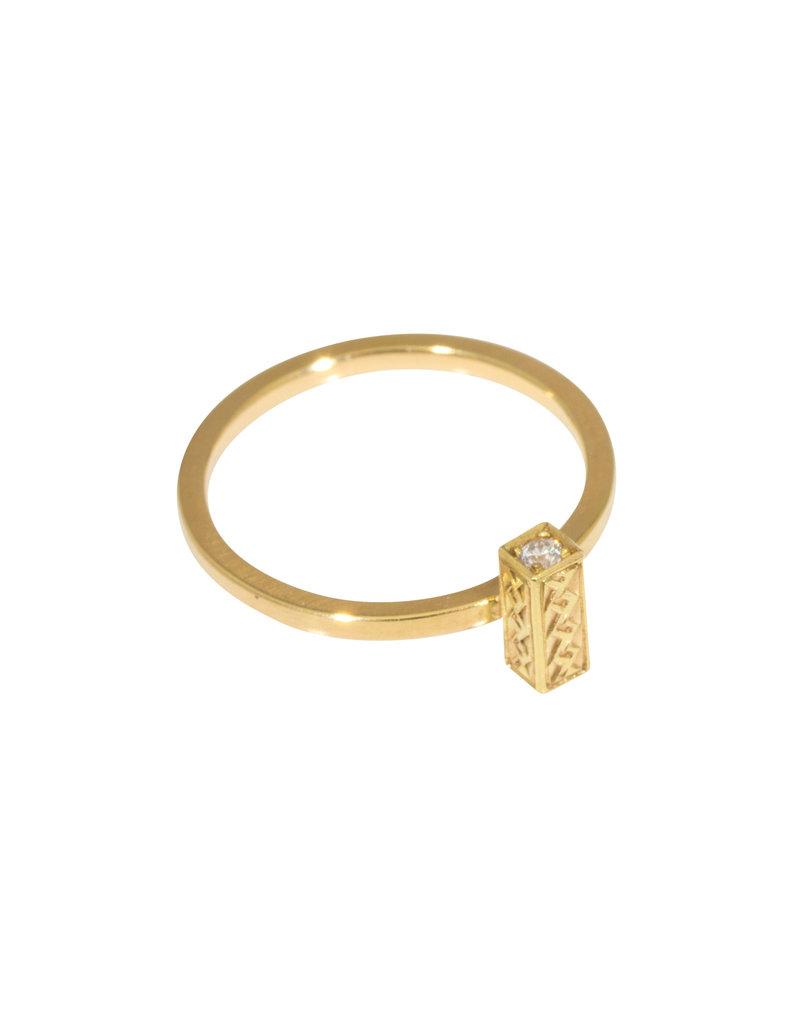 Sam Woehrmann Engraved Diamond Bar Ring in 18k Yellow Gold