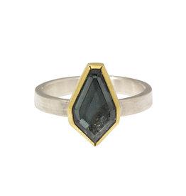 Sam Woehrmann Geometric Grey Purple Spinel Ring in 22k Gold & Silver