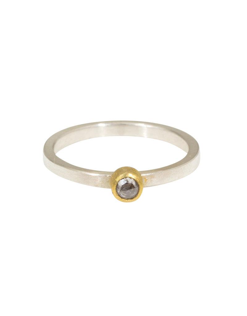 Sam Woehrmann Round Grey Diamond Ring in 22k Gold & Silver