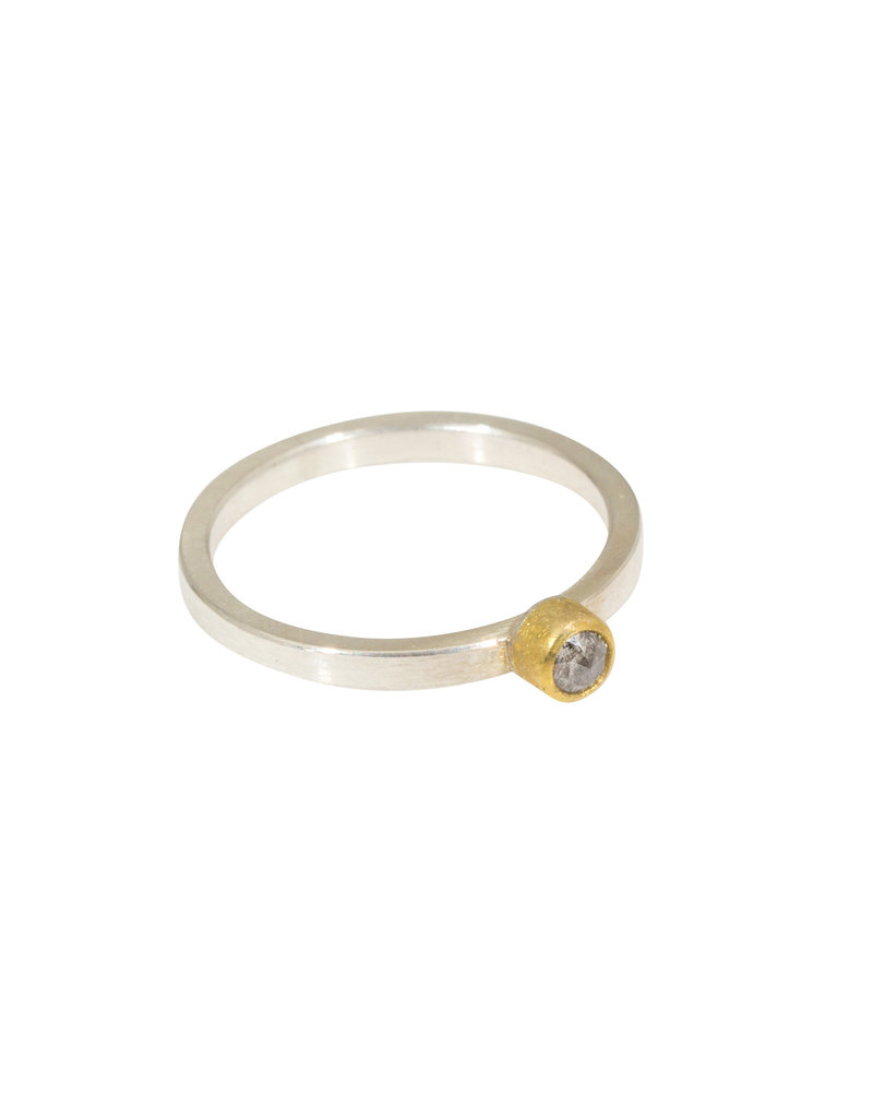 Sam Woehrmann Round Grey Diamond Ring in 22k Gold & Silver