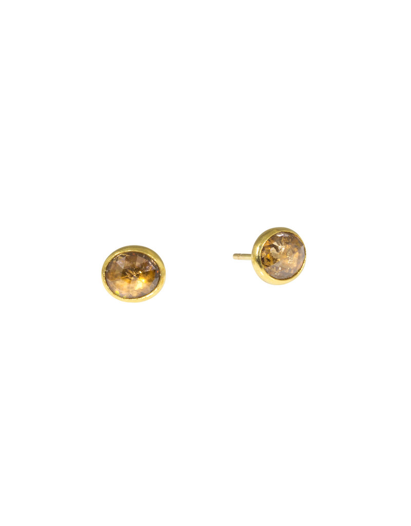 Sam Woehrmann Brown Diamond Post Earrings in 22k & 18k Gold