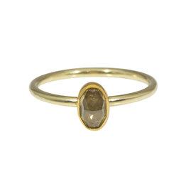 Sam Woehrmann Oval Grey Diamond Ring in Yellow & Green Gold