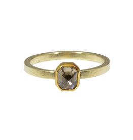 Sam Woehrmann Rectangular Brown Diamond Ring in Yellow & Green Gold