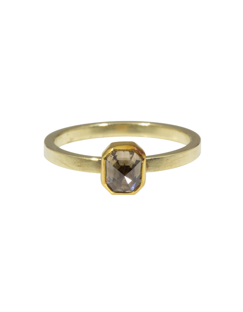 Sam Woehrmann Rectangular Brown Diamond Ring in Yellow & Green Gold