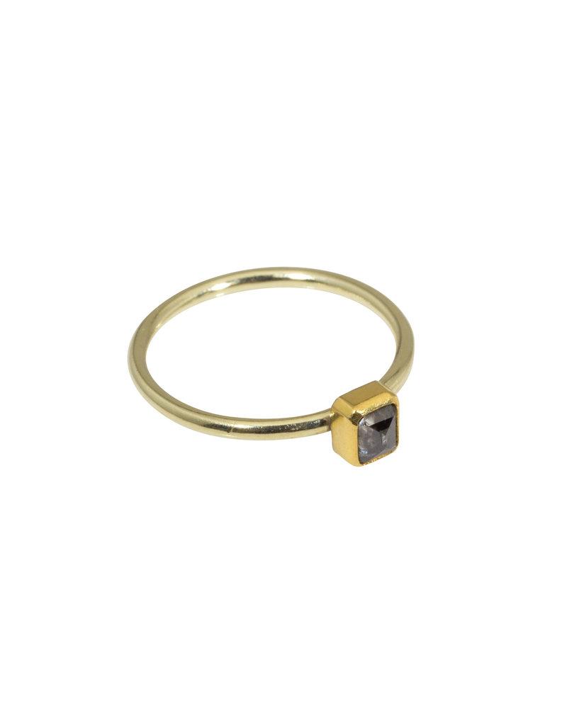 Sam Woehrmann Rectangular Grey Diamond Ring in Yellow & Green Gold