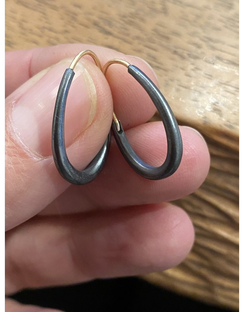 Small Oval Katachi Hoop Earrings in Oxidized Silver with 14k Yellow Gold