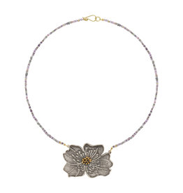 Apple Blossom Pendant on Sapphire Necklace in Silver and 22k & 18k Gold