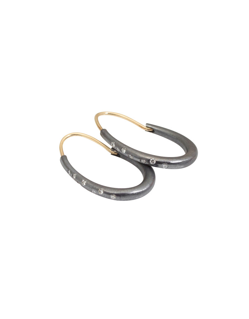 Small Oval Katachi Hoop Earrings with White Diamonds in Oxidized Silver with 14k Yellow Gold