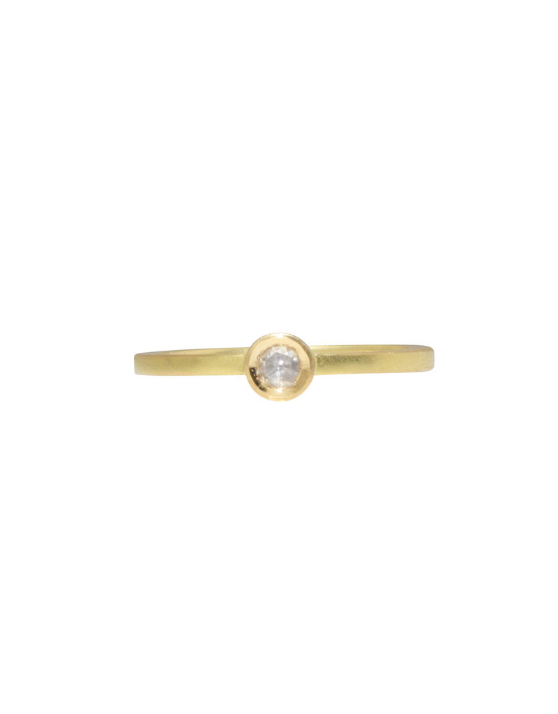 Single Rosecut Diamond Solitaire Ring in 18k Yellow Gold