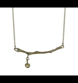 Alexis Pavlantos Sprig Pendant in 14k Yellow Gold with Diamond