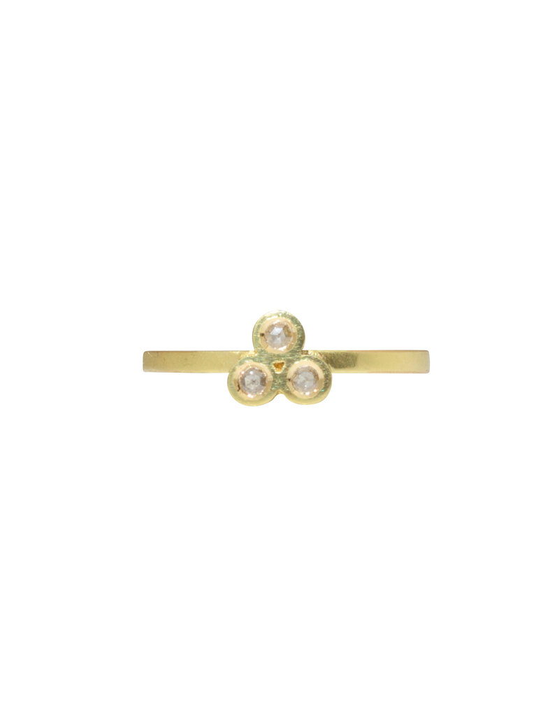 Triple Rose Cut Diamond Ring in 18k Yellow Gold