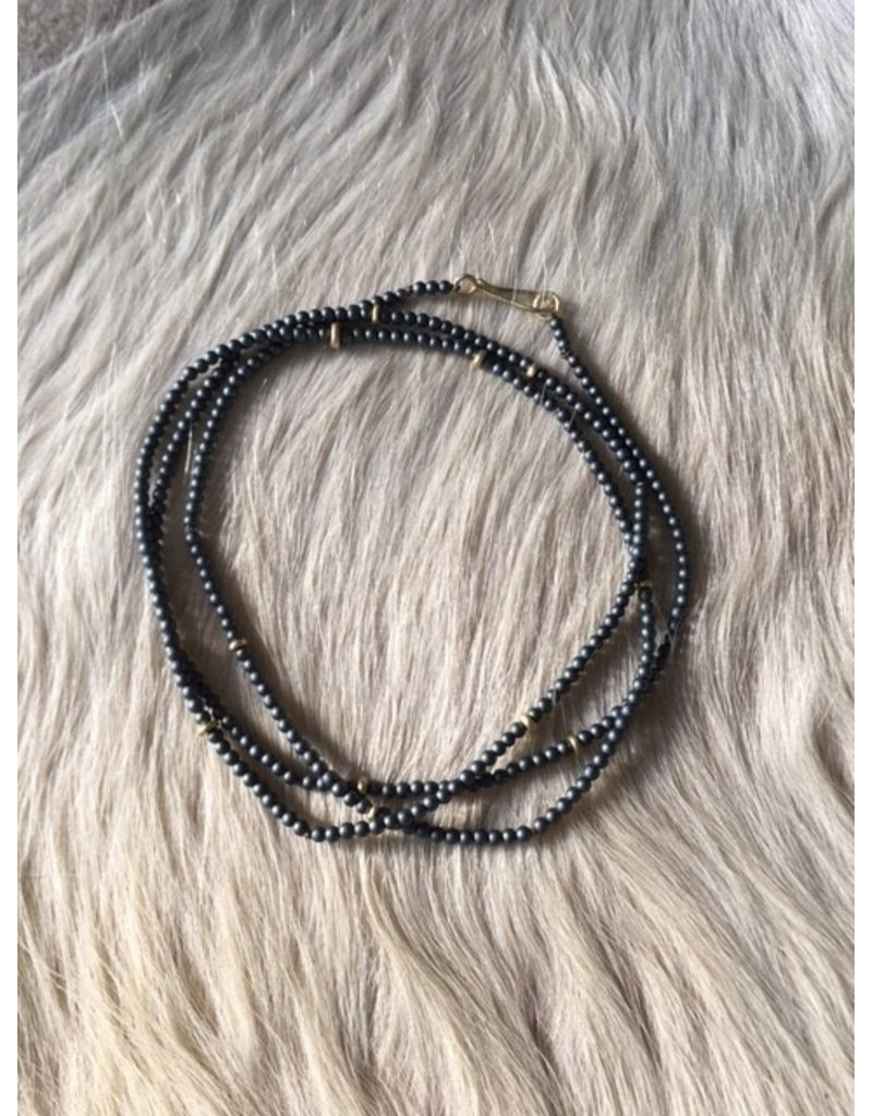 Matte Hematite Bead Necklace with 18k Yellow Gold