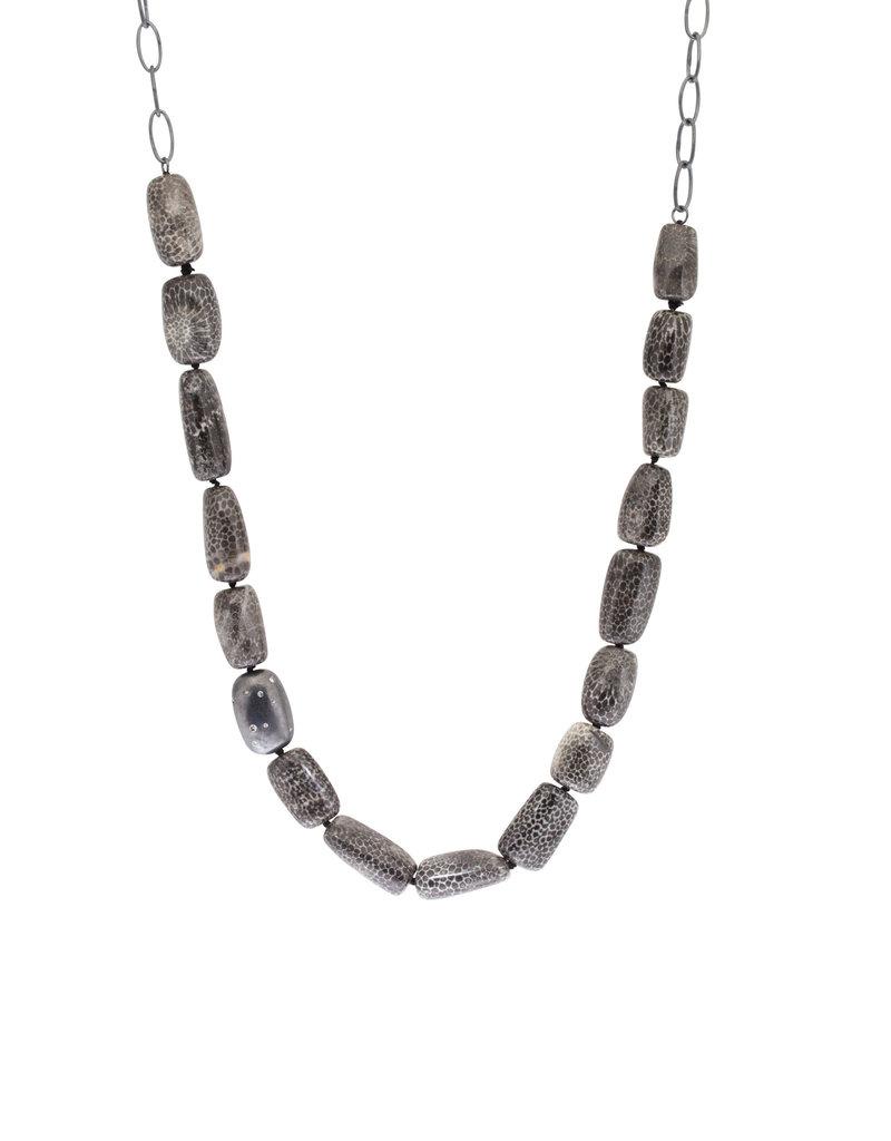 Bryozozan Coral Necklace with Oxidized Silver and Grey Diamonds