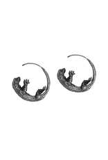 Alexis Pavlantos Lizard Hoop Earrings in Silver