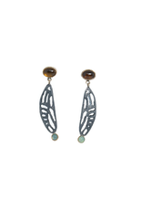 Alexis Pavlantos Cicada Wing Post Earrings in Oxidized Silver with Citrine and Chrysoprase