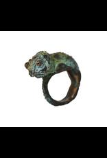 Alexis Pavlantos Medium Chameleon Ring in Bronze with Swarzki Crystals