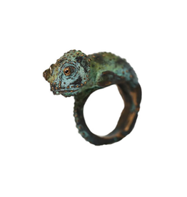 Alexis Pavlantos Medium Chameleon Ring in Bronze with Swarovski Crystals