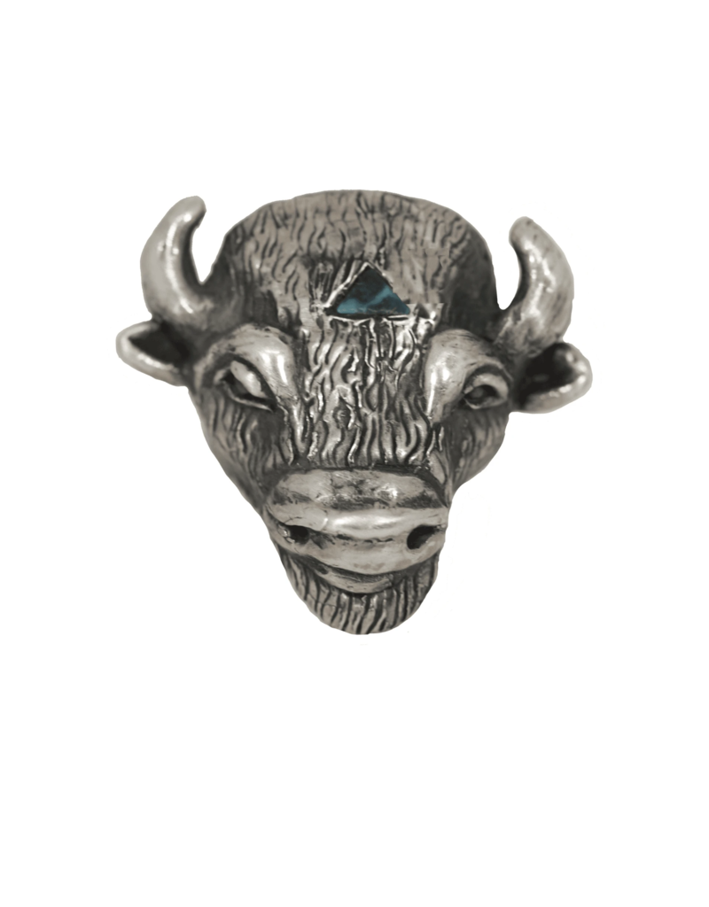 Alexis Pavlantos Buffalo Ring in Silver and Turquoise