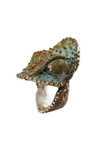 Alexis Pavlantos Large Chameleon Ring in Bronze, Silver and Black Diamond