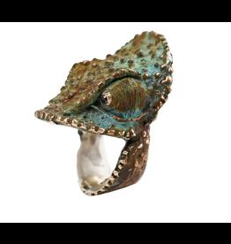 Alexis Pavlantos Large Chameleon Ring in Bronze, Silver and Black Diamond