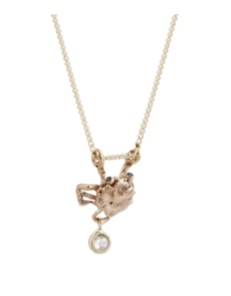 Alexis Pavlantos Small Crab Pendant with Diamonds in 14k Rose and Yellow Gold