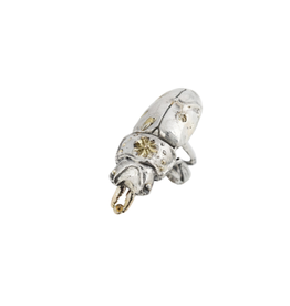 Alexis Pavlantos Stag Beetle Ring in Silver and 14k Gold with Diamond
