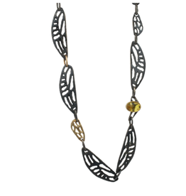 Alexis Pavlantos Cicada Wing Necklace in Oxidized Silver and 14k Gold with Citrine and Chrysoprase