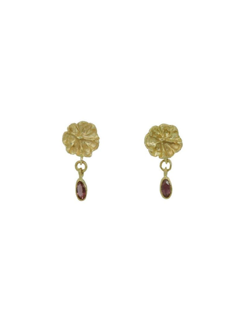Alexis Pavlantos Small Floral Post Earrings in 14k Gold with Rubies