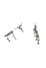 Alexis Pavlantos Praying Mantis Post Earrings in Silver with Emeralds