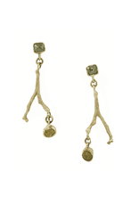 Alexis Pavlantos Sprig Earrings in 14k Gold with Diamond and Citrine