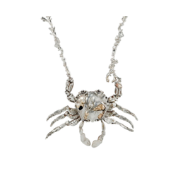 Alexis Pavlantos Kinetic Crab Locket Necklace in Silver with Gold Accents