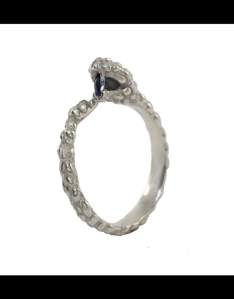 Alexis Pavlantos Ichos Snake Ring in 14k White Gold with Sapphire