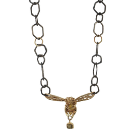 Alexis Pavlantos Bee Necklace in Oxidized Silver and 14k Gold with  Citrine and Alexandrite