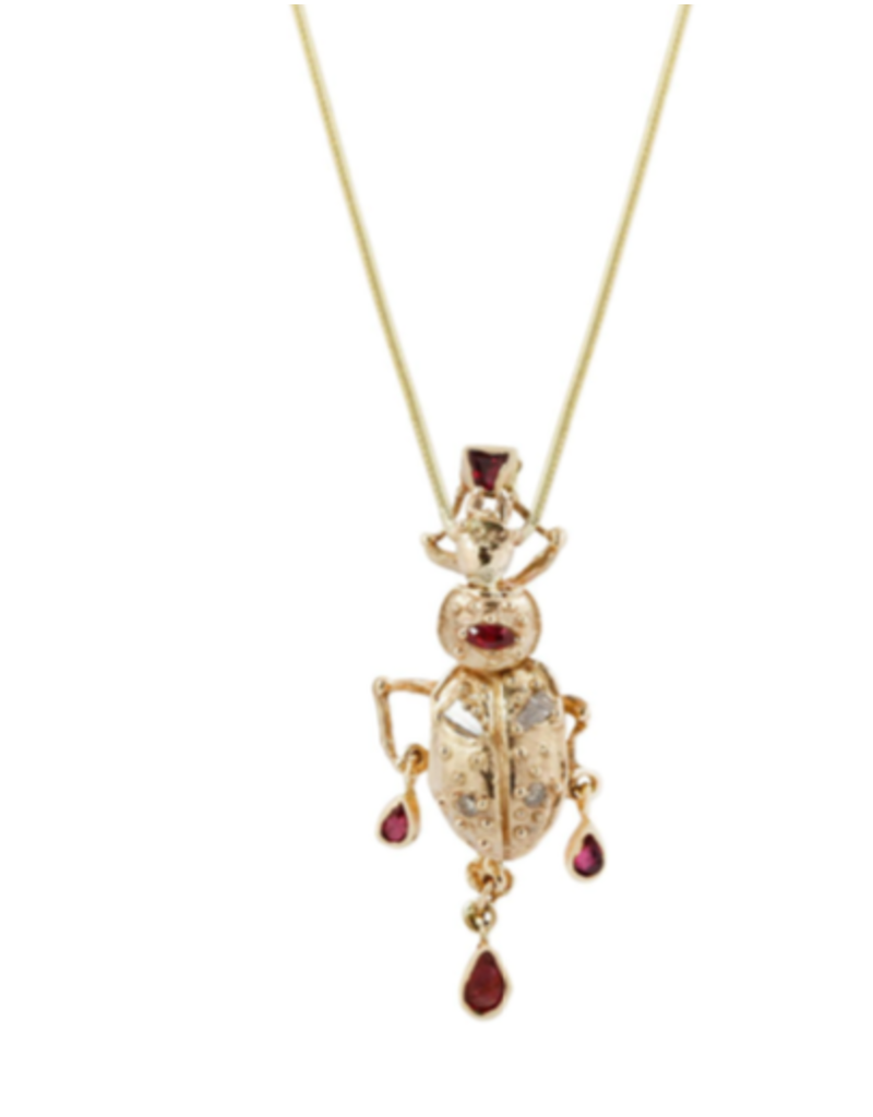 Alexis Pavlantos Beetle Pendant in 14k Gold with Diamonds and Rubies