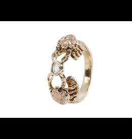 Alexis Pavlantos Crab Holding Diamond Ring in 14k Yellow, White and Rose Gold with Black Diamonds