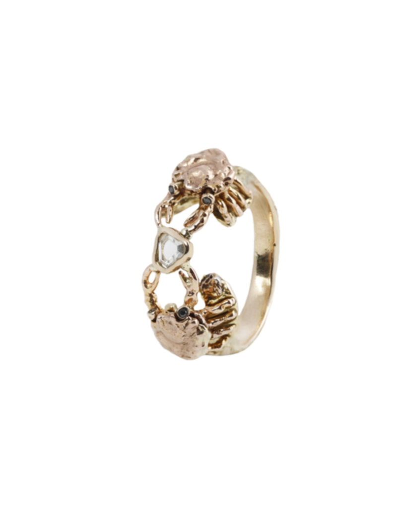 Alexis Pavlantos Crab Holding Diamond Ring in 14k Yellow, White and Rose Gold with Black Diamonds