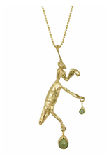 Alexis Pavlantos Praying Mantis Necklace in 14k Yellow Gold with Malachite