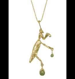Alexis Pavlantos Praying Mantis Necklace in 14k Yellow Gold with Malachite