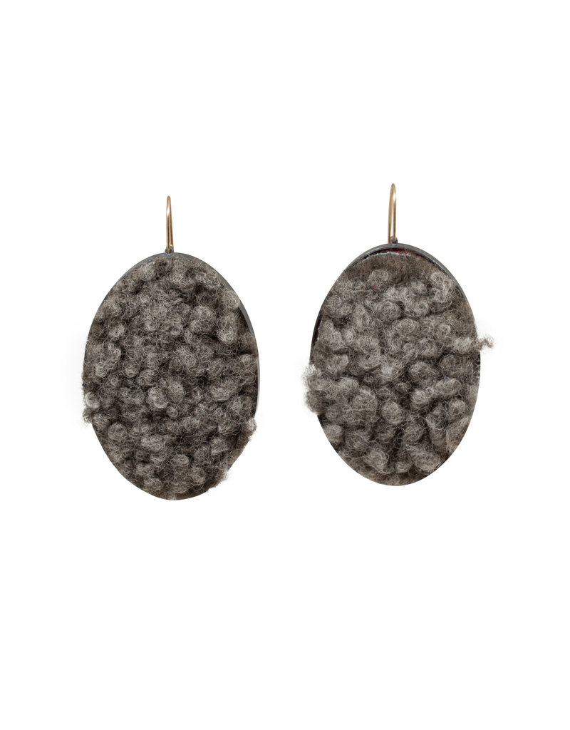 Extra Large Oval Earrings with Sheeps Wool in Oxidized Silver