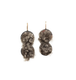 Double Round Earrings with Sheeps Wool in Oxidized Silver
