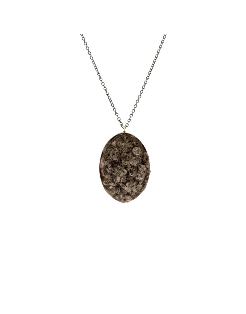 Extra Large Oval Necklace with Sheeps Wool in Oxidized Silver