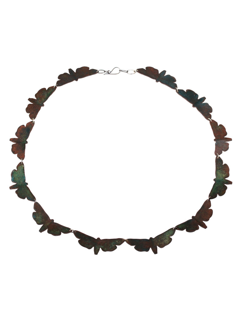"""Moth Necklace in Enameled Steel and Oxidized Silver - 21.5"""""""